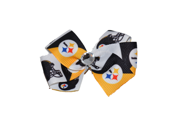 Steelers Black Yellow Bow (Sports Teams) - Dream Lily Designs