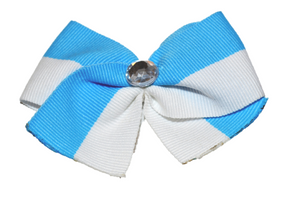 1.5 Inch Light Blue and White Striped Bow (Stripes and Chevron) - Dream Lily Designs