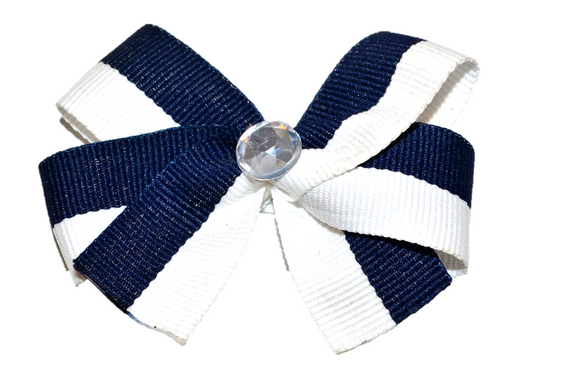 Navy Blue and White Striped Bow (Stripes and Chevron)
