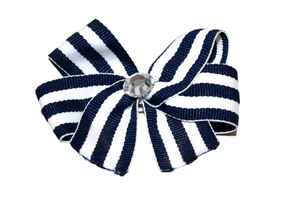 Thin Navy Blue and White Striped Bow (Stripes and Chevron) - Dream Lily Designs