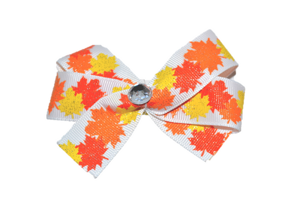 Sparkly Fall Leaves Bow (Fall) - Dream Lily Designs