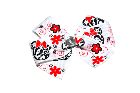 Red Flower Swirl Minnie Bow (Minnie) - Dream Lily Designs