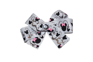 White and Silver Detail Minnie Bow (Minnie) - Dream Lily Designs