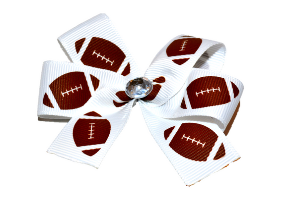 Small Football Bow (Sports) - Dream Lily Designs