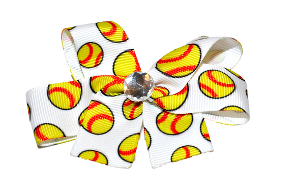 Small Softballs Bow (Sports) - Dream Lily Designs