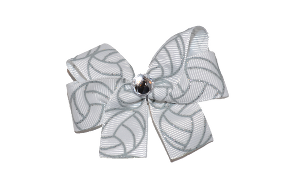 Silver Volleyball Bow (Sports) - Dream Lily Designs