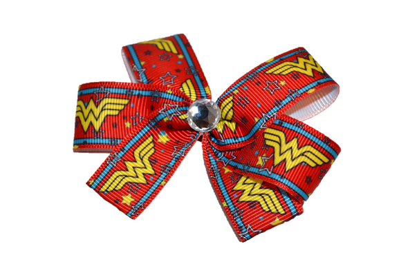 Red Wonder Woman Bow (Superhero) - Dream Lily Designs