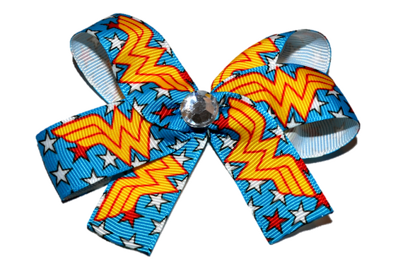 Light Blue Wonder Woman Bow (Superhero) - Dream Lily Designs