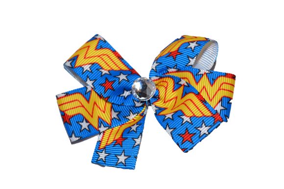 Royal Blue Wonder Woman Bow (Superhero) - Dream Lily Designs