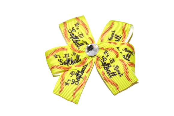 Its All About Softball Bow (Sports) - Dream Lily Designs