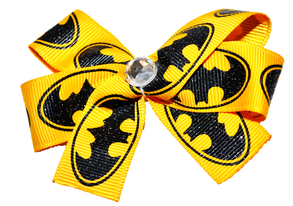 Yellow Batman Bow (Superhero) - Dream Lily Designs