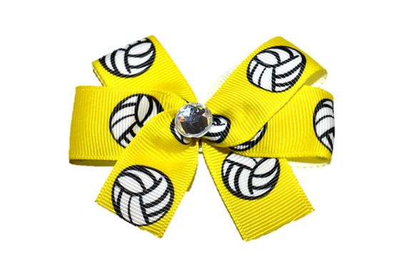 Yellow Volley Ball Bow (Sports) - Dream Lily Designs