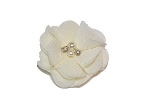 Ivory Crystal Chiffon Clip - Dream Lily Designs
