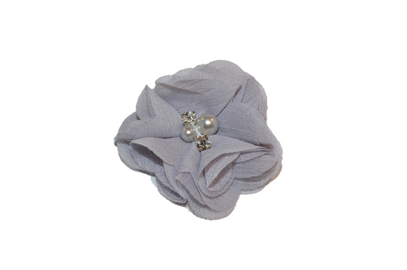 Grey Crystal Chiffon Clip - Dream Lily Designs