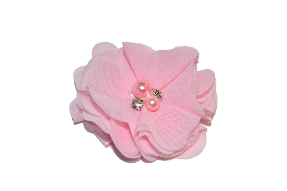 Light Pink Crystal Chiffon Clip - Dream Lily Designs