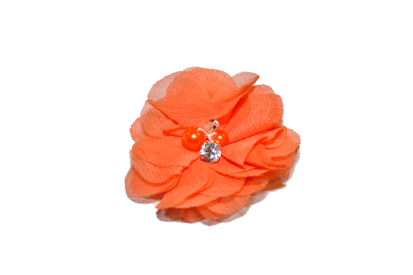 Orange Crystal Chiffon Clip