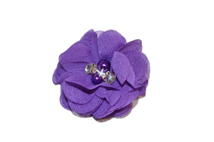 Royal Purple Crystal Chiffon Clip - Dream Lily Designs