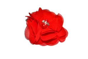 Red Crystal Chiffon Clip - Dream Lily Designs