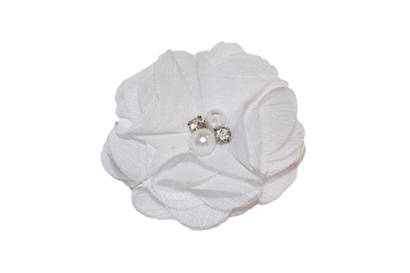 White Crystal Chiffon Clip - Dream Lily Designs