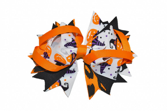 Black Orange White Pumpkins Boutique Halloween Hair Bow (Holidays)