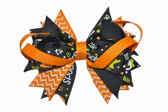 Orange Black with Chevron and Ghosts Boutique Halloween Hair Bow (Holidays)