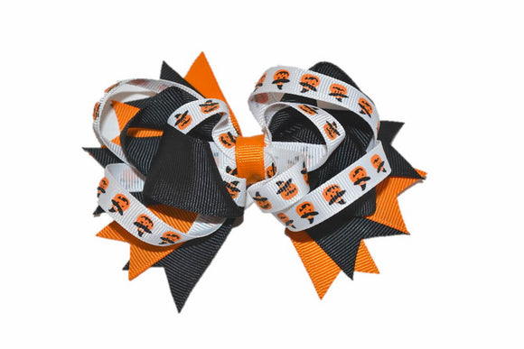 Black Orange White Pumpkins Boutique Halloween Hair Bow (Holidays) - Dream Lily Designs