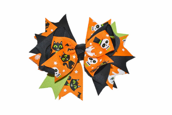 Green Orange Black Skull Black Cat Ghost Boutique Halloween Hair Bow (Holidays) - Dream Lily Designs