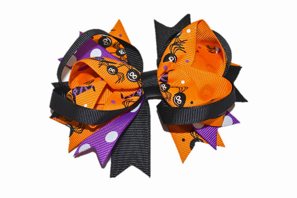 Black Orange Purple with Polka Dots Spiders Boutique Halloween Hair Bow (Holidays)