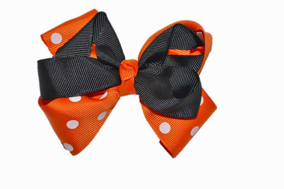 Black Orange with White Polka Dots Boutique Halloween Hair Bow (Holidays)