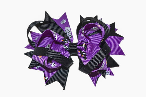Purple Black with Bats and Spider Webs Boutique Halloween Hair Bow (Holidays) - Dream Lily Designs