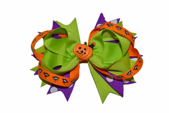Green Orange Purple Pumpkin Spider Boutique Halloween Hair Bow (Holidays) - Dream Lily Designs