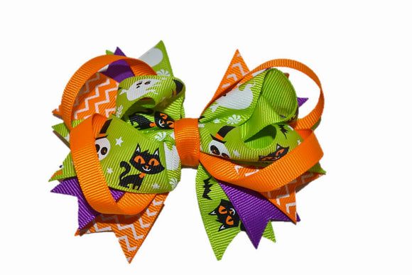 Green Orange Purple Ghost Black Cat Boutique Halloween Hair Bow (Holidays) - Dream Lily Designs