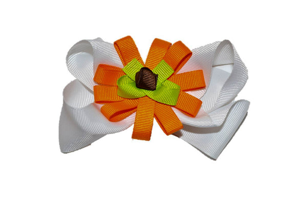 White Orange Green Brown Pumpkin Boutique Halloween Hair Bow (Holidays) - Dream Lily Designs