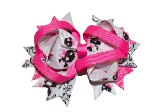 Pink White Black with Cross Bones Boutique Halloween Hair Bow (Holidays) - Dream Lily Designs
