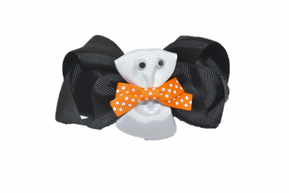 Black White Ghost with Orange Bow Tie Boutique Halloween Hair Bow (Holidays) - Dream Lily Designs