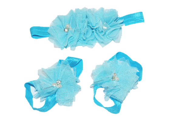Aqua Tulle Baby Barefoot Sandals and Headband