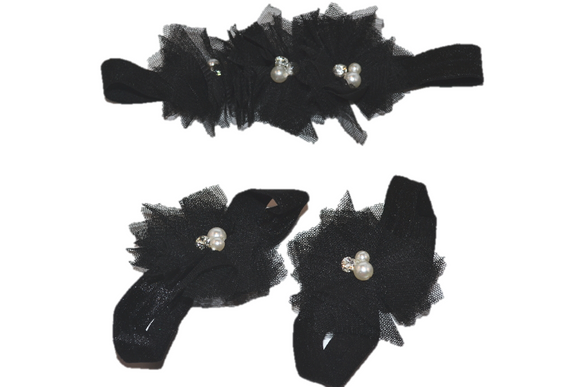 Black Tulle Baby Barefoot Sandals and Headband