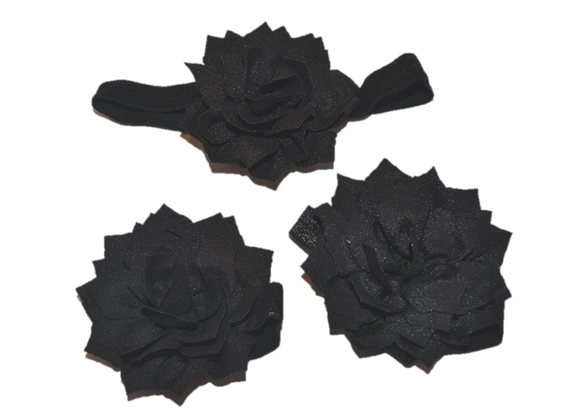 Black Lily Baby Barefoot Sandals and Headband - Dream Lily Designs