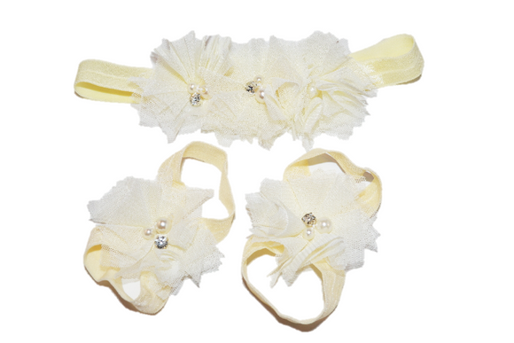Cream Tulle Baby Barefoot Sandals and Headband