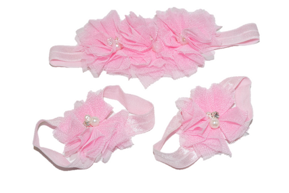 Light Pink Tulle Baby Barefoot Sandals and Headband - Dream Lily Designs