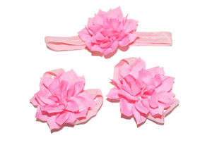 Pink Lily Baby Barefoot Sandals and Headband - Dream Lily Designs