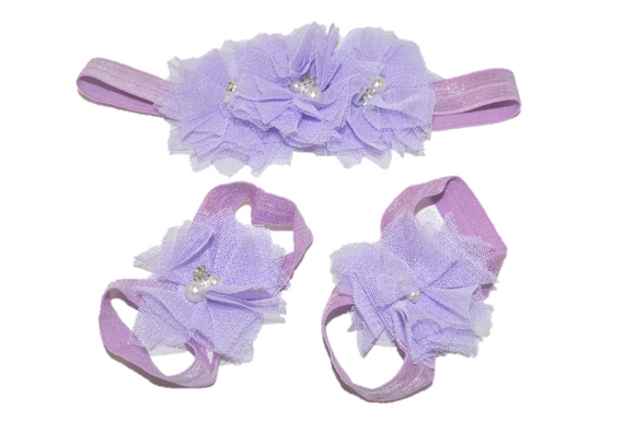 Light Purple Tulle Baby Barefoot Sandals and Headband