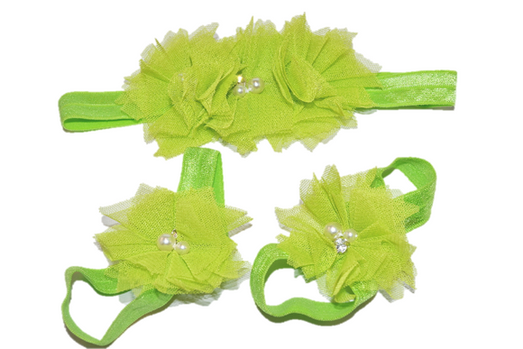 Lime Green Tulle Baby Barefoot Sandals and Headband