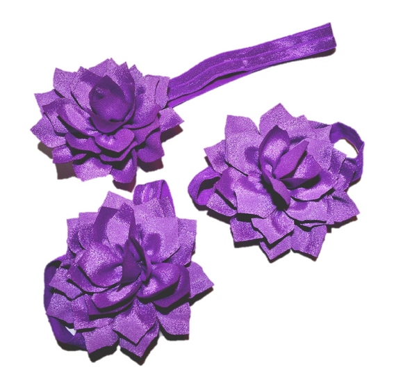 Purple Lily Baby Barefoot Sandals and Headband - Dream Lily Designs