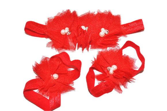 Red Tulle Baby Barefoot Sandals and Headband - Dream Lily Designs