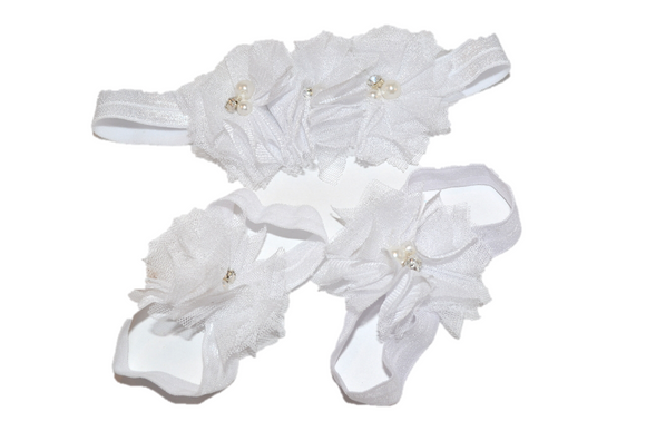 White Tulle Baby Barefoot Sandals and Headband - Dream Lily Designs
