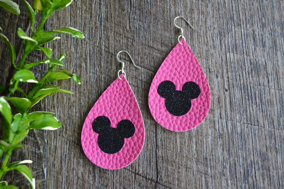 Minnie Mouse Pink Black Glitter Logo Teardrop Faux Leather Earrings - Dream Lily Designs
