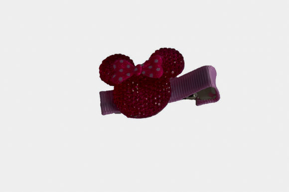 Pink Minnie Mouse Rhinestone Hair Clip with Hot Pink Bow - Dream Lily Designs