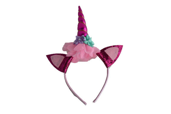 Hot Pink Unicorn Headband with Ears - Dream Lily Designs