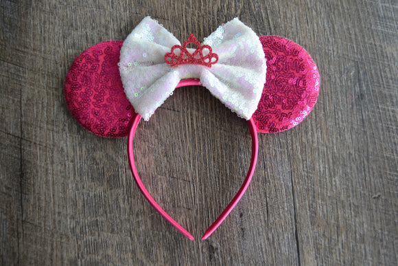 Hot Pink White Crown Minnie Mouse Deluxe Headband - Dream Lily Designs